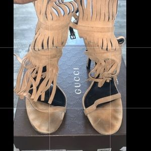 Gucci Tan Suede Fringe Heel Box & Dust Bag & Box